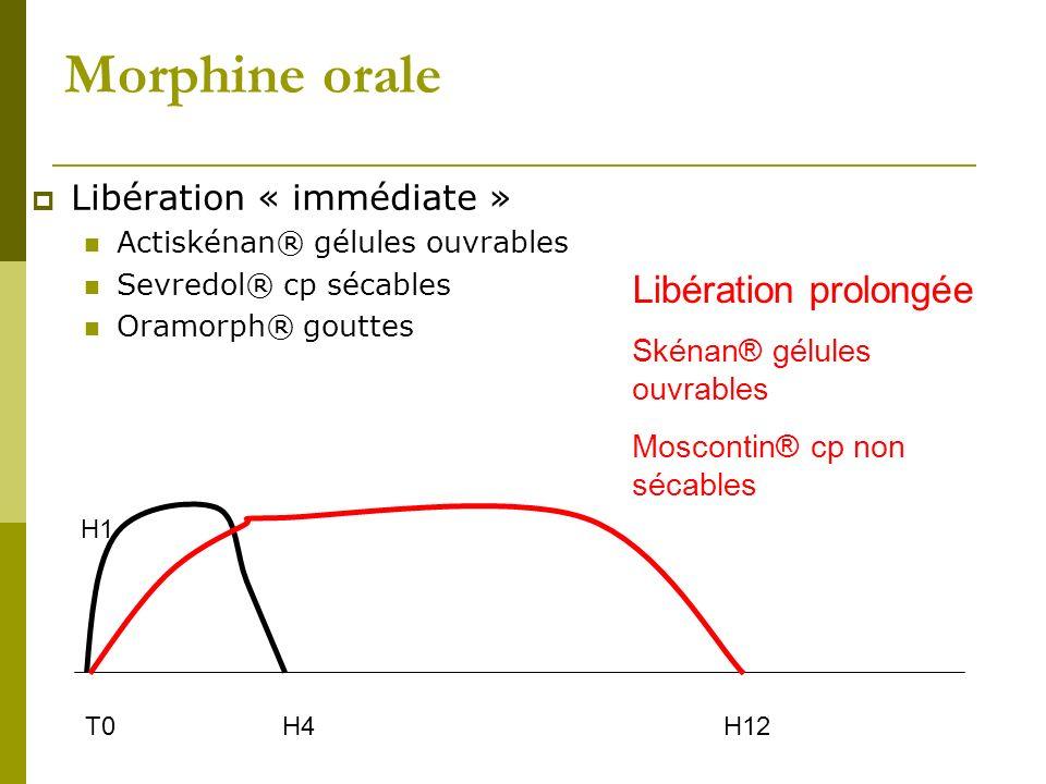 Morphine orale Libération « immédiate » Actiskénan® gélules ouvrables Sevredol® cp sécables Oramorph® gouttes T0H4 H1 Libération prolongée Skénan® gél