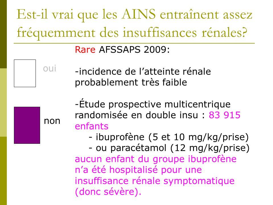 Est-il vrai que les AINS entraînent assez fréquemment des insuffisances rénales? oui non Rare AFSSAPS 2009: -incidence de latteinte rénale probablemen