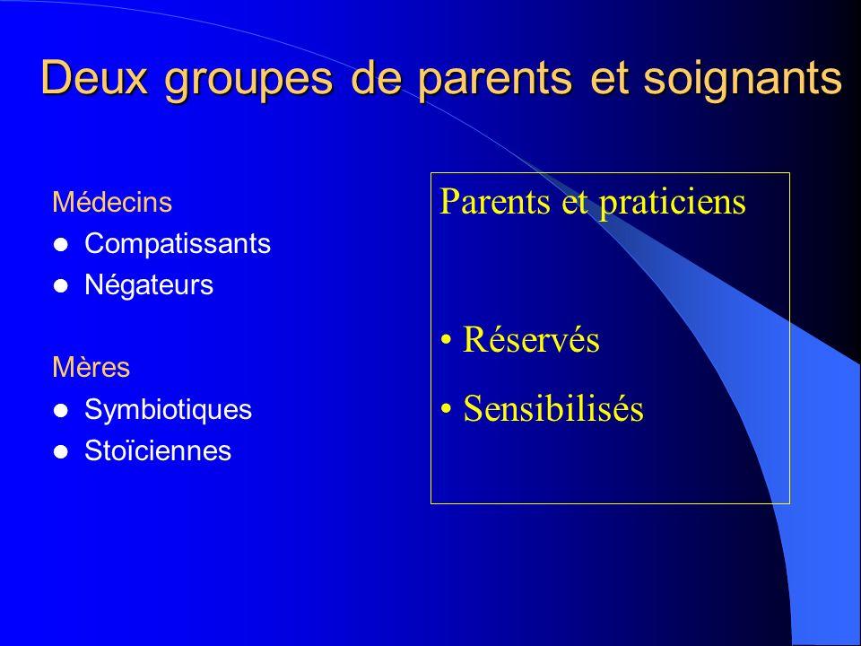 Deux groupes de parents et soignants Médecins Compatissants Négateurs Mères Symbiotiques Stoïciennes Parents et praticiens Réservés Sensibilisés