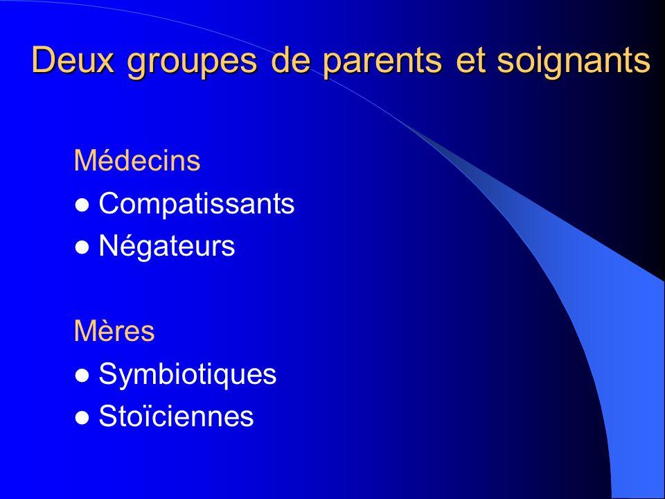 Deux groupes de parents et soignants Médecins Compatissants Négateurs Mères Symbiotiques Stoïciennes