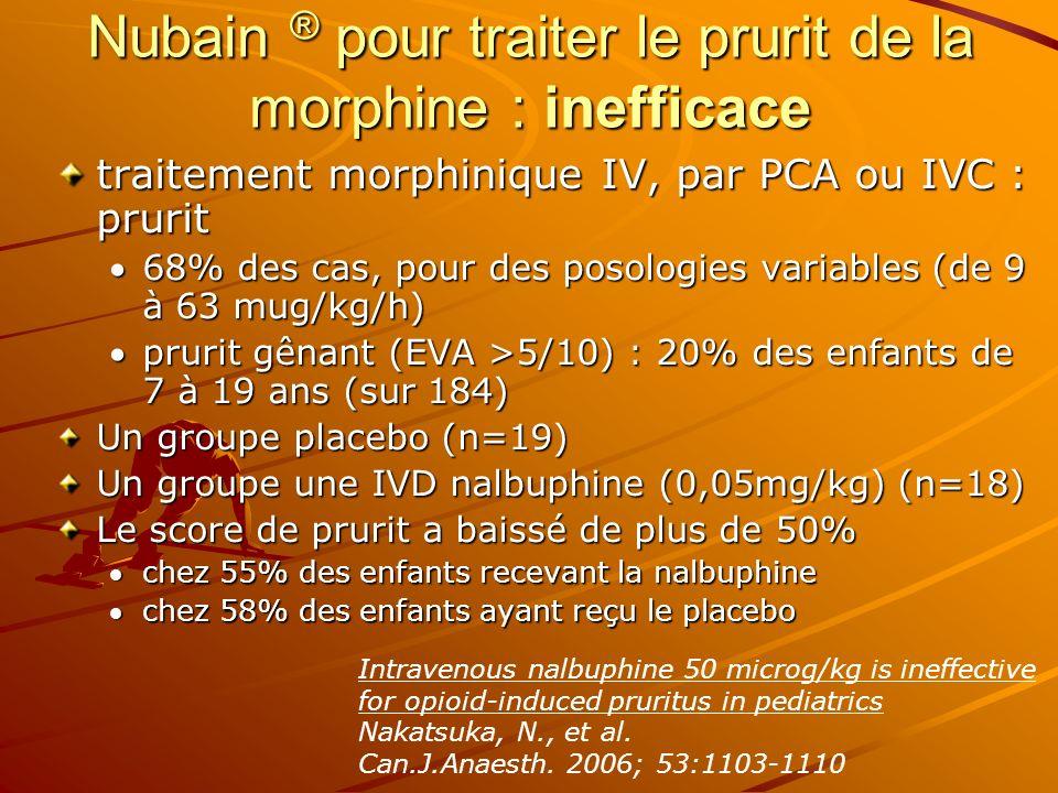 Nubain ® pour traiter le prurit de la morphine : inefficace traitement morphinique IV, par PCA ou IVC : prurit 68% des cas, pour des posologies variab