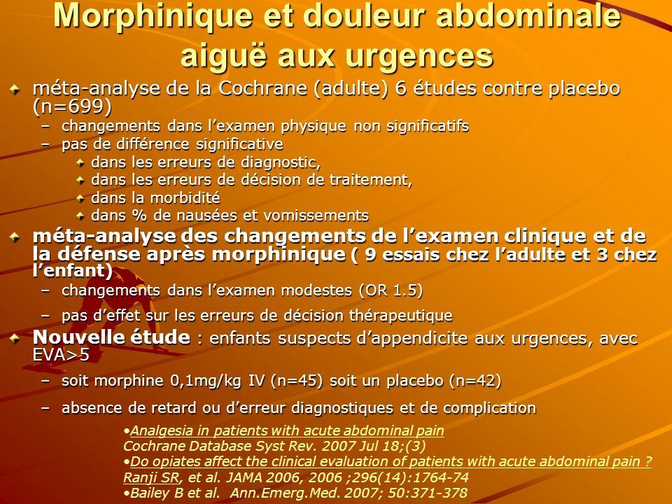 Morphinique et douleur abdominale aiguë aux urgences méta-analyse de la Cochrane (adulte) 6 études contre placebo (n=699) –changements dans lexamen ph
