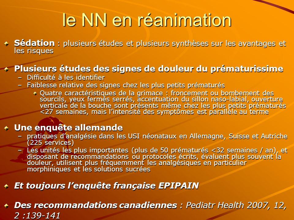 le NN en réanimation Sédation : plusieurs études et plusieurs synthèses sur les avantages et les risques Plusieurs études des signes de douleur du pré