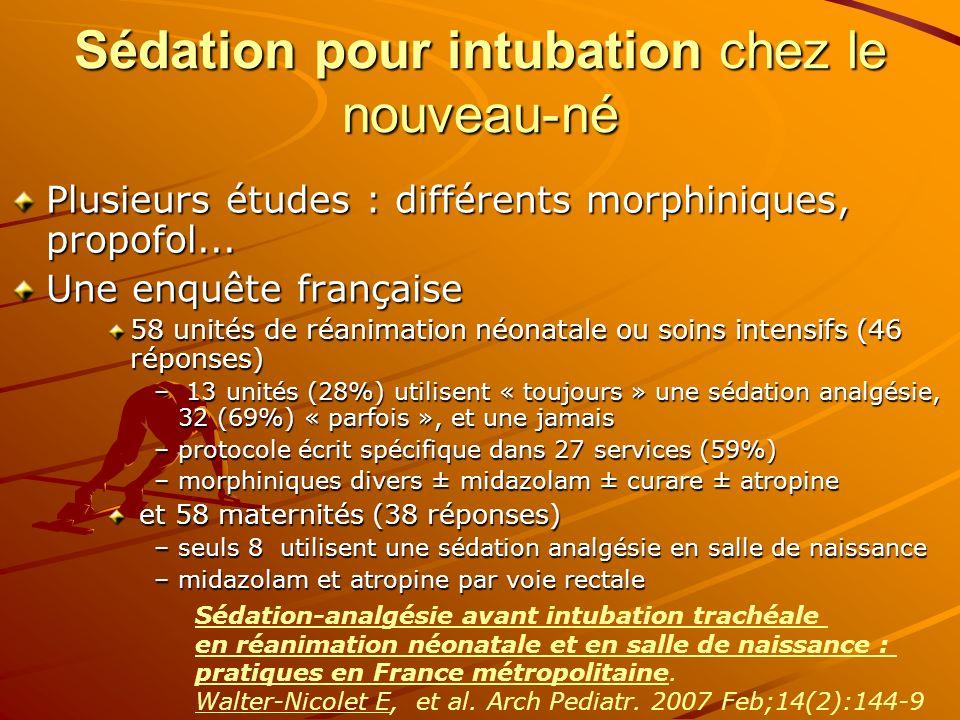 Sédation pour intubation chez le nouveau-né Plusieurs études : différents morphiniques, propofol... Une enquête française 58 unités de réanimation néo