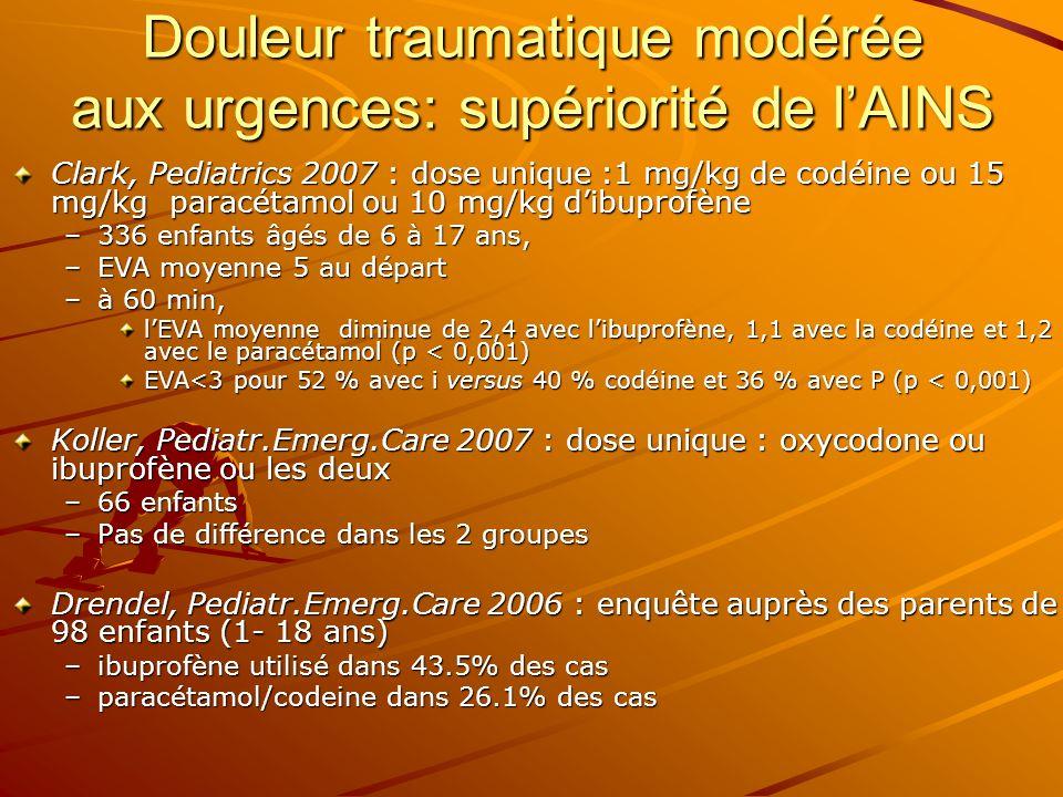 Douleur traumatique modérée aux urgences: supériorité de lAINS Clark, Pediatrics 2007 : dose unique :1 mg/kg de codéine ou 15 mg/kg paracétamol ou 10