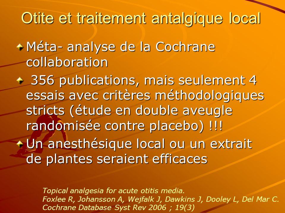 Otite et traitement antalgique local Méta- analyse de la Cochrane collaboration 356 publications, mais seulement 4 essais avec critères méthodologique