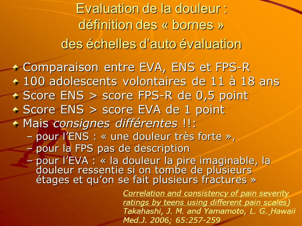 Evaluation de la douleur : définition des « bornes » des échelles dauto évaluation Comparaison entre EVA, ENS et FPS-R 100 adolescents volontaires de