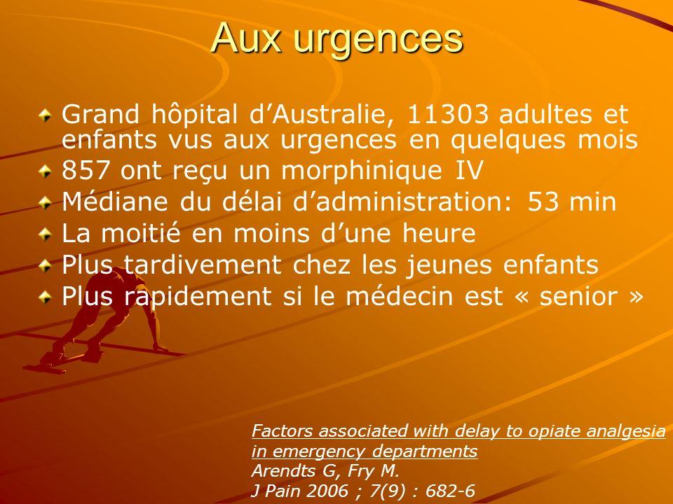 Aux urgences Grand hôpital dAustralie, 11303 adultes et enfants vus aux urgences en quelques mois 857 ont reçu un morphinique IV Médiane du délai dadm