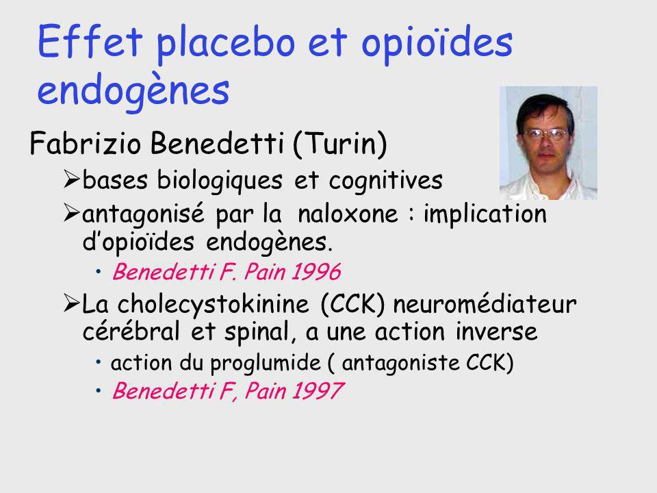 Effet placebo et opioïdes endogènes Fabrizio Benedetti (Turin) bases biologiques et cognitives antagonisé par la naloxone : implication dopioïdes endo