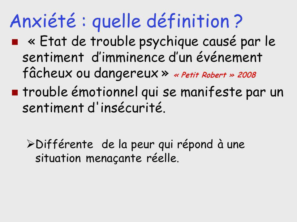 Anxiété : quelle définition ? « Etat de trouble psychique causé par le sentiment dimminence dun événement fâcheux ou dangereux » « Petit Robert » 2008