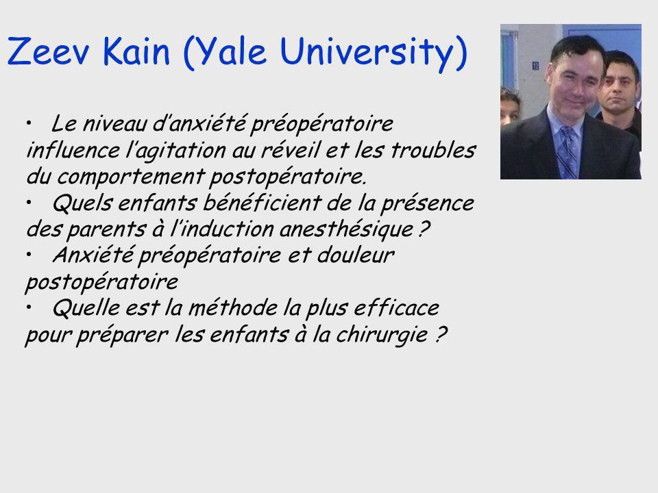 Zeev Kain (Yale University) Le niveau danxiété préopératoire influence lagitation au réveil et les troubles du comportement postopératoire. Quels enfa