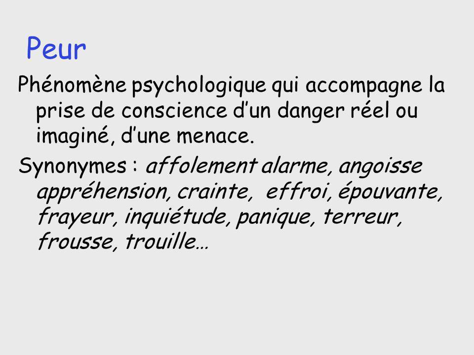Peur Phénomène psychologique qui accompagne la prise de conscience dun danger réel ou imaginé, dune menace. Synonymes : affolement alarme, angoisse ap