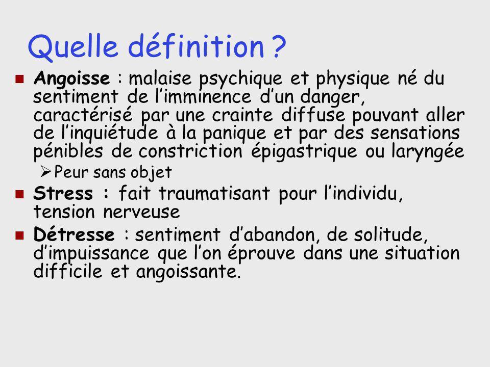 Quelle définition ? Angoisse : malaise psychique et physique né du sentiment de limminence dun danger, caractérisé par une crainte diffuse pouvant all