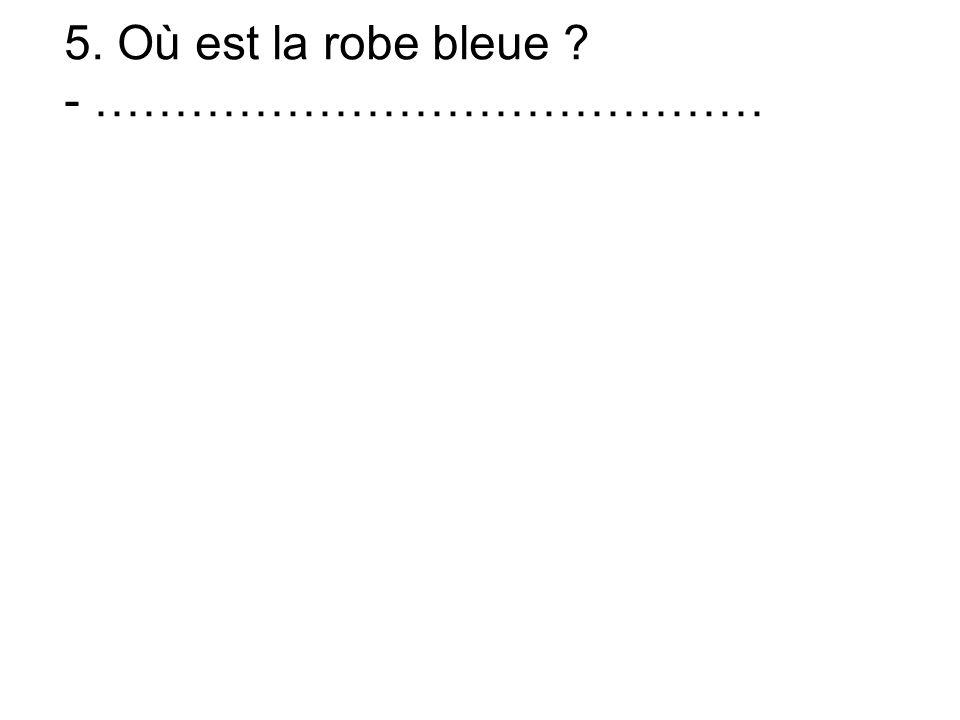 5. Où est la robe bleue - ……………………………………