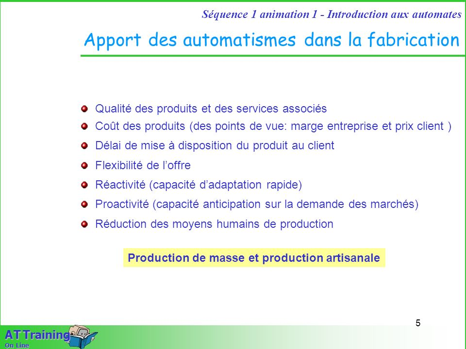 4 Séquence 1 animation 1 - Introduction aux automates A T Training On Line Les objectifs de lentreprise Automatiser Informatiser Robotiser Equiper Rat