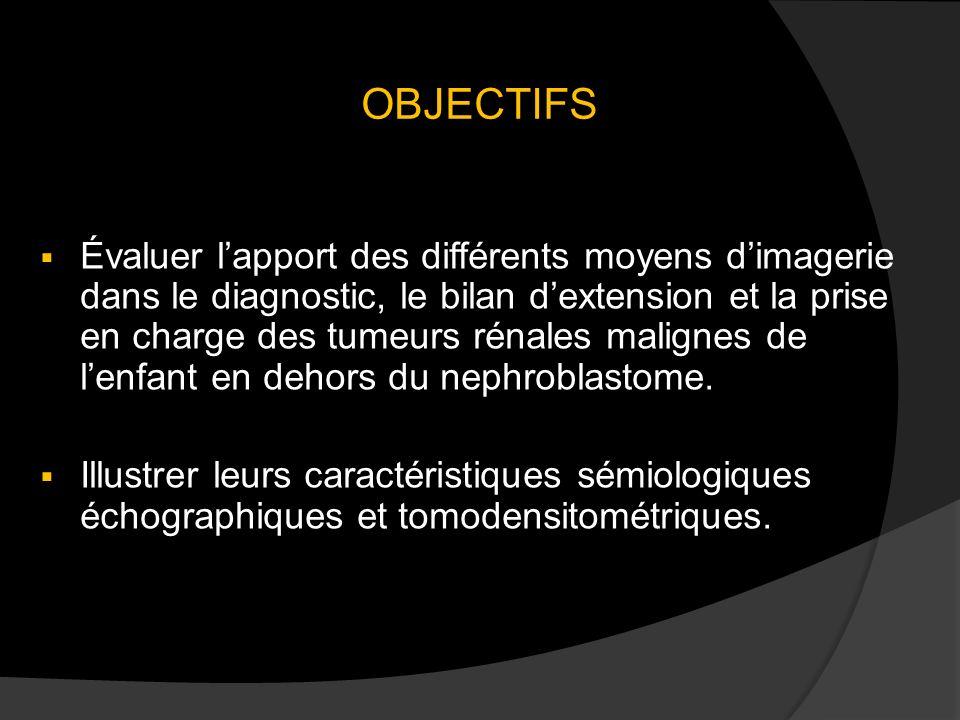 OBJECTIFS Évaluer lapport des différents moyens dimagerie dans le diagnostic, le bilan dextension et la prise en charge des tumeurs rénales malignes de lenfant en dehors du nephroblastome.