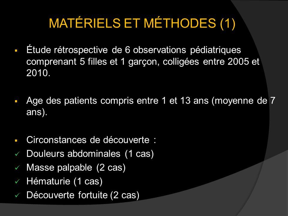MATÉRIELS ET MÉTHODES (1) Étude rétrospective de 6 observations pédiatriques comprenant 5 filles et 1 garçon, colligées entre 2005 et 2010. Age des pa