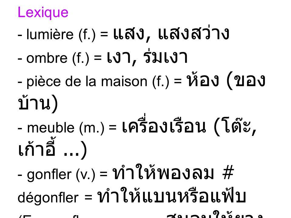 Lexique - lumière (f.) =, - ombre (f.) =, - pièce de la maison (f.) = ( ) - meuble (m.) = (,...) - gonfler (v.) = # dégonfler = (Ex. gonfler un pneu =