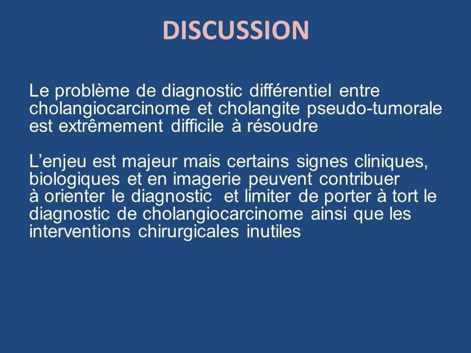 DISCUSSION Le problème de diagnostic différentiel entre cholangiocarcinome et cholangite pseudo-tumorale est extrêmement difficile à résoudre Lenjeu e