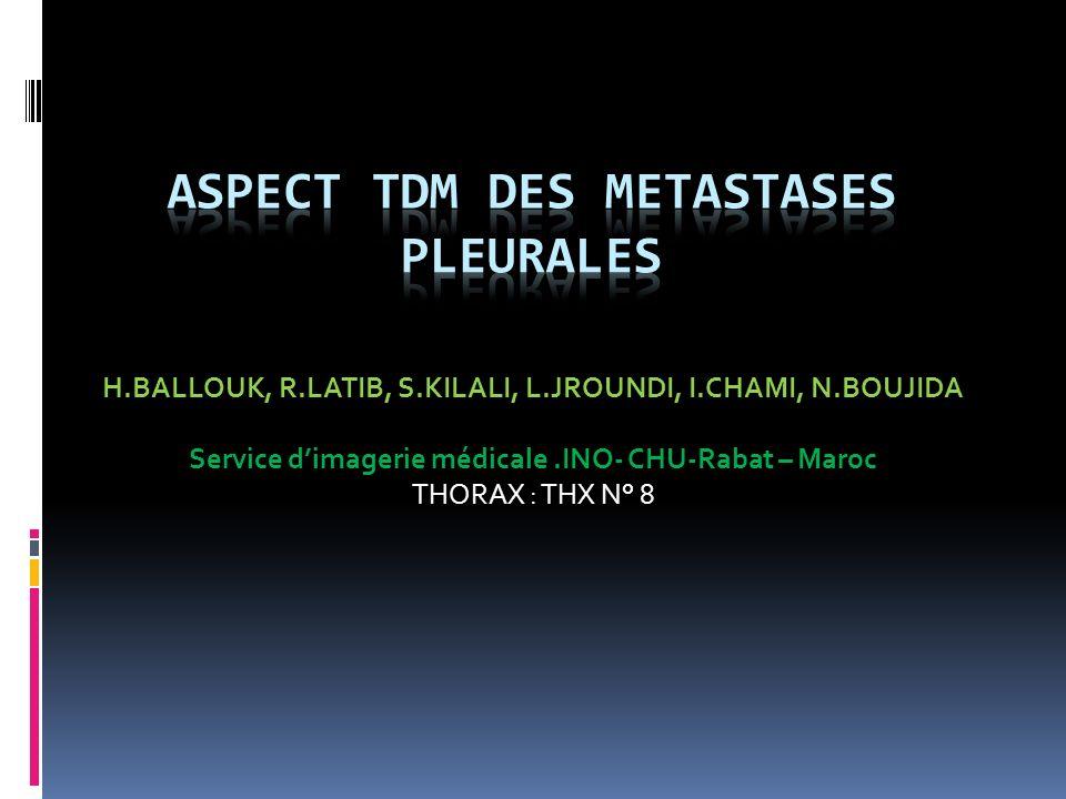 Introduction Les métastases pleurales sont les tumeurs malignes de la plèvre les plus fréquentes, représentant 95 % des cas La TDM joue un rôle primordial dans le diagnostic, lépanchement pleural représente laspect dominant.