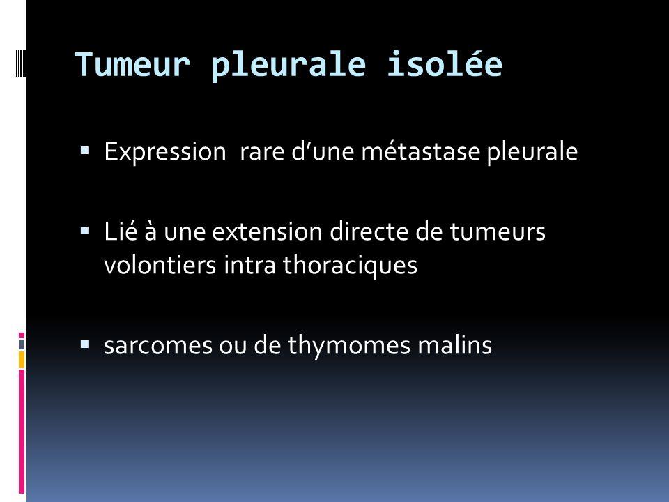 Tumeur pleurale isolée Expression rare dune métastase pleurale Lié à une extension directe de tumeurs volontiers intra thoraciques sarcomes ou de thymomes malins