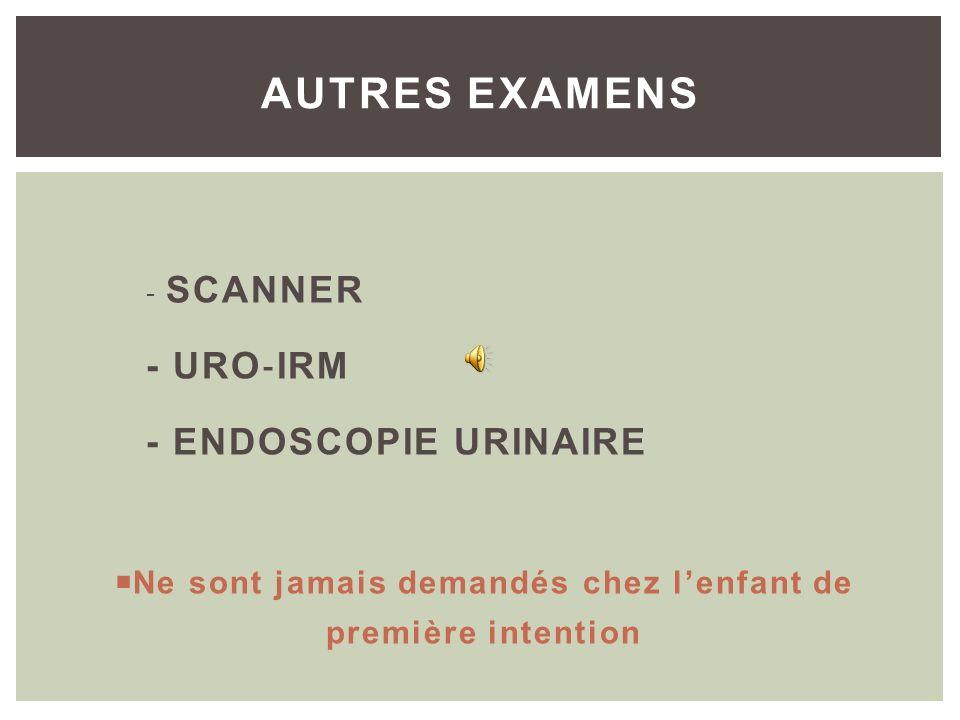 Moins irradiante que la cystographie conventionnelle Suspicion de RVU intermittents non détectés à la cystographie radiologique Surveillance du RVU CY