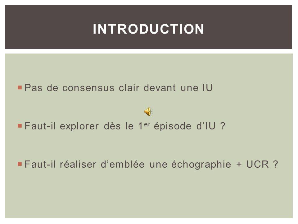 Linfection urinaire (IU) est une des pathologies les plus fréquentes chez lenfant Le but de son exploration est la détection de situations favorisants