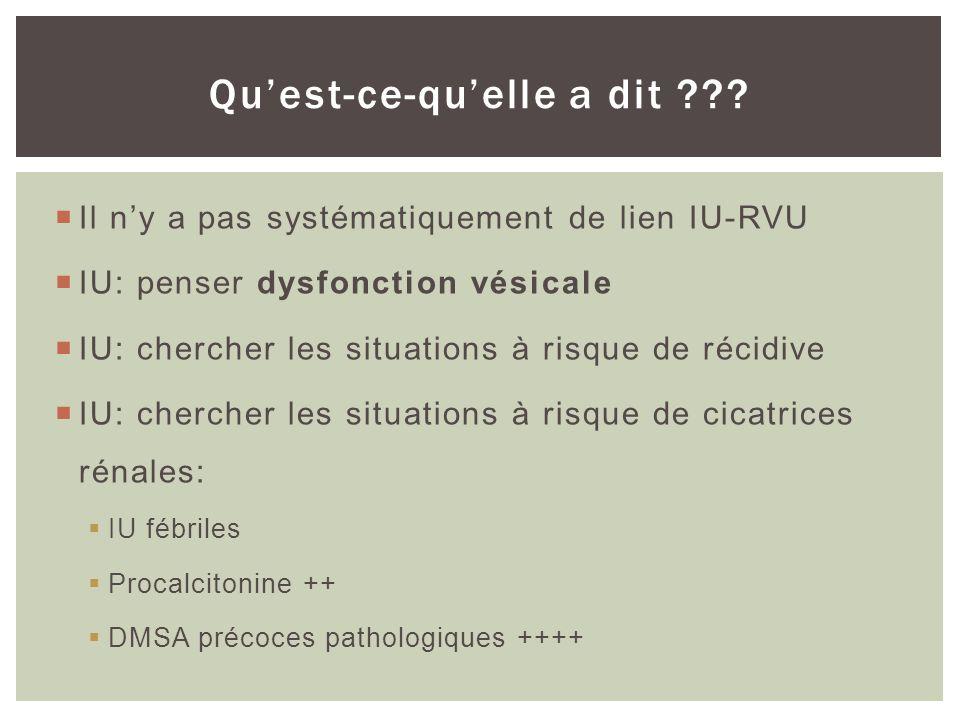 A la phase aiguë: Echographie +++ pour les urgences (rétention durine purulente, lithiase et abcès). Si PNA à lécho, le DMSA est probablement peu util