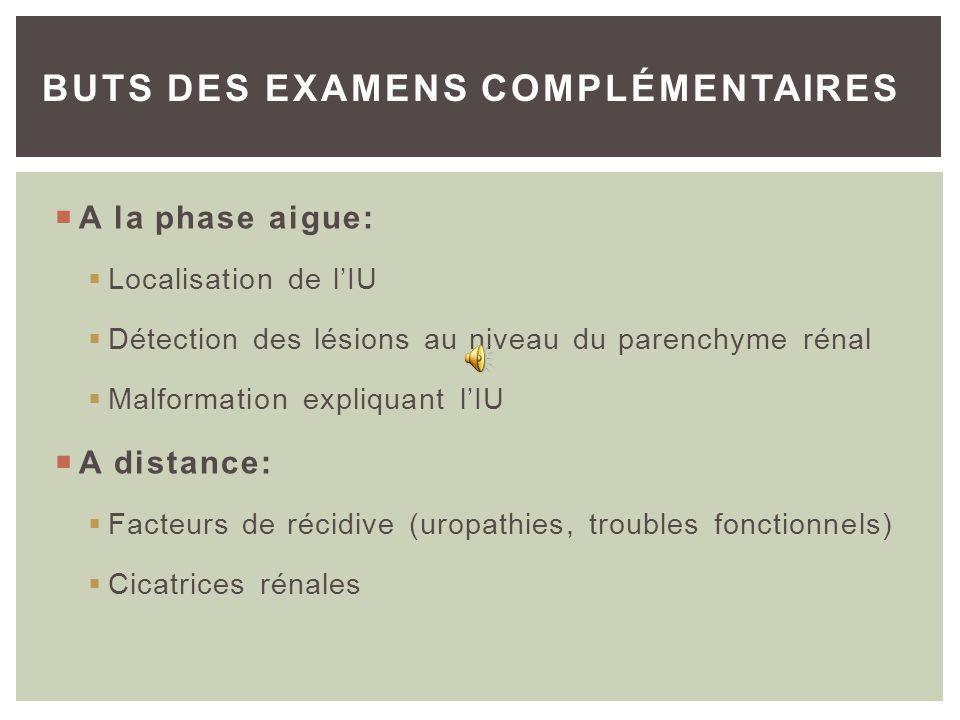 DOUBLE RISQUE: – Immédiat: gravité potentielle (septicémie, choc septique) – Retardé: risque de récidive, séquelles rénales DOU LA NECESSITE DE RECHER