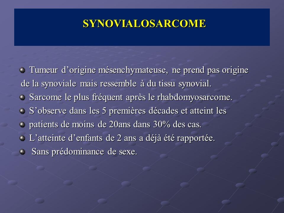 Tumeur dorigine mésenchymateuse, ne prend pas origine de la synoviale mais ressemble à du tissu synovial. de la synoviale mais ressemble à du tissu sy