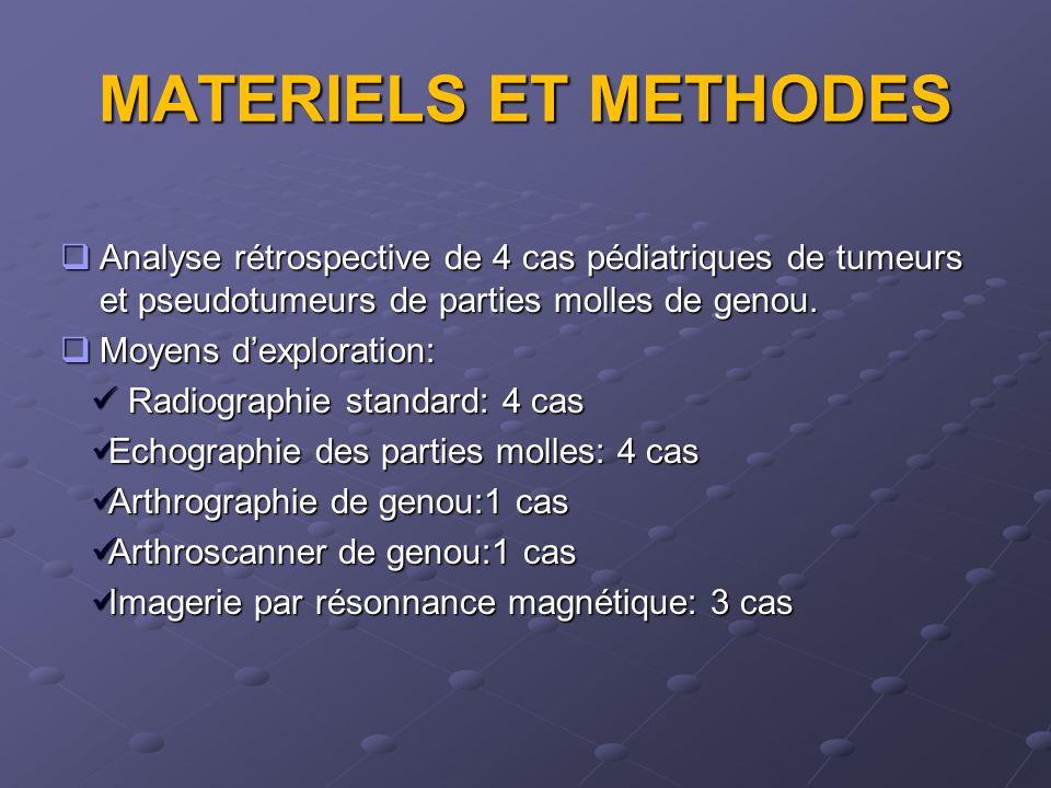 MATERIELS ET METHODES Analyse rétrospective de 4 cas pédiatriques de tumeurs et pseudotumeurs de parties molles de genou. Analyse rétrospective de 4 c