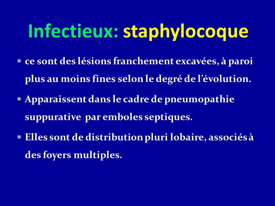 Infectieux: staphylocoque ce sont des lésions franchement excavées, à paroi plus au moins fines selon le degré de lévolution. Apparaissent dans le cad