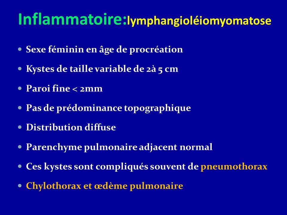 Inflammatoire: lymphangioléiomyomatose Sexe féminin en âge de procréation Kystes de taille variable de 2à 5 cm Paroi fine < 2mm Pas de prédominance to