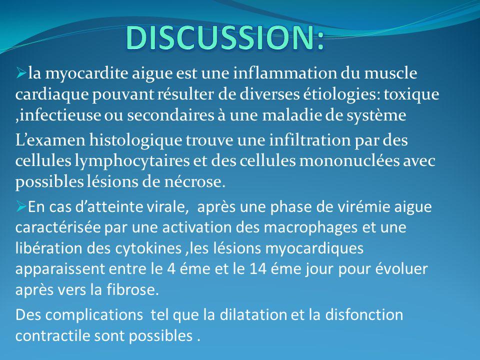 la myocardite aigue est une inflammation du muscle cardiaque pouvant résulter de diverses étiologies: toxique,infectieuse ou secondaires à une maladie