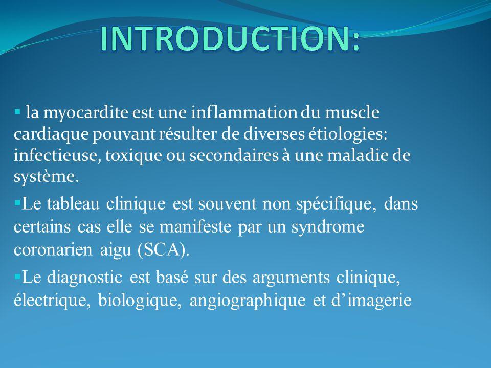 Limagerie par résonance magnétique (IRM) apparait comme un outil diagnostic pertinent dans les myocardites.