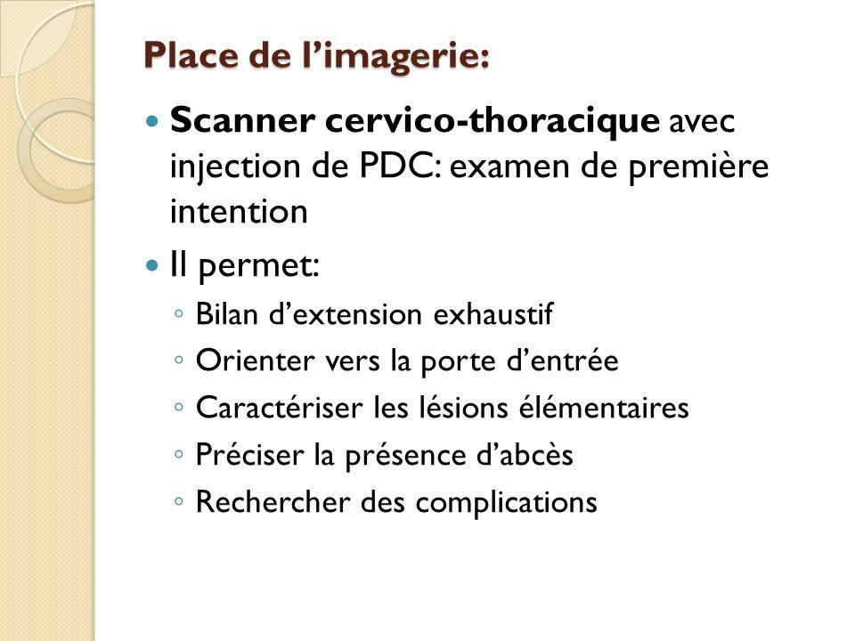 Place de limagerie: Scanner cervico-thoracique avec injection de PDC: examen de première intention Il permet: Bilan dextension exhaustif Orienter vers