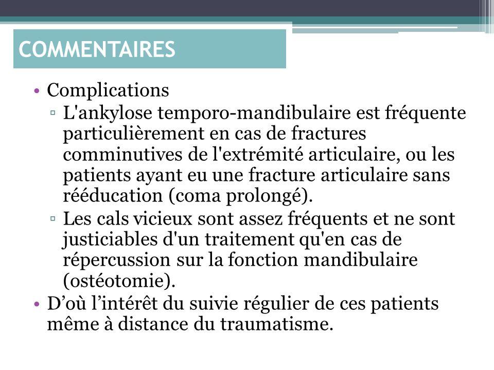 Complications L'ankylose temporo-mandibulaire est fréquente particulièrement en cas de fractures comminutives de l'extrémité articulaire, ou les patie