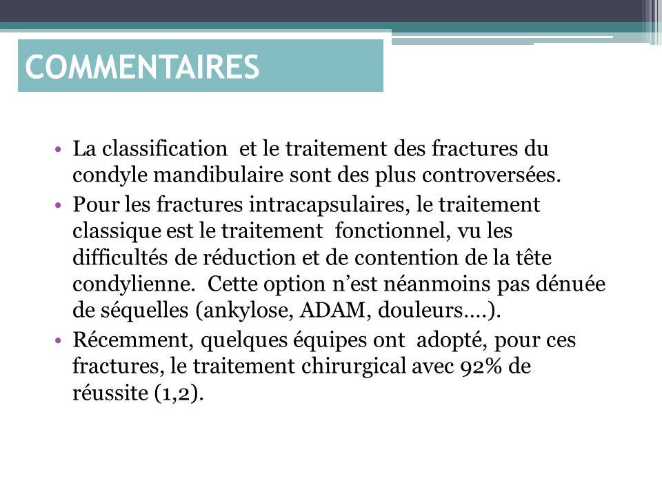 La classification et le traitement des fractures du condyle mandibulaire sont des plus controversées. Pour les fractures intracapsulaires, le traiteme