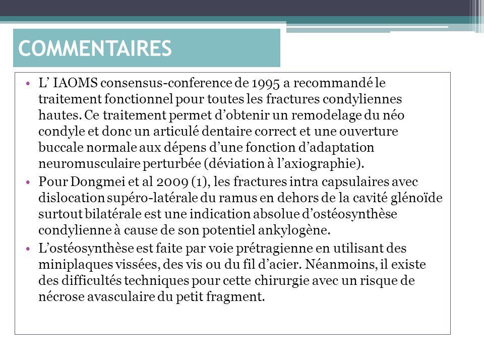 L IAOMS consensus-conference de 1995 a recommandé le traitement fonctionnel pour toutes les fractures condyliennes hautes. Ce traitement permet dobten