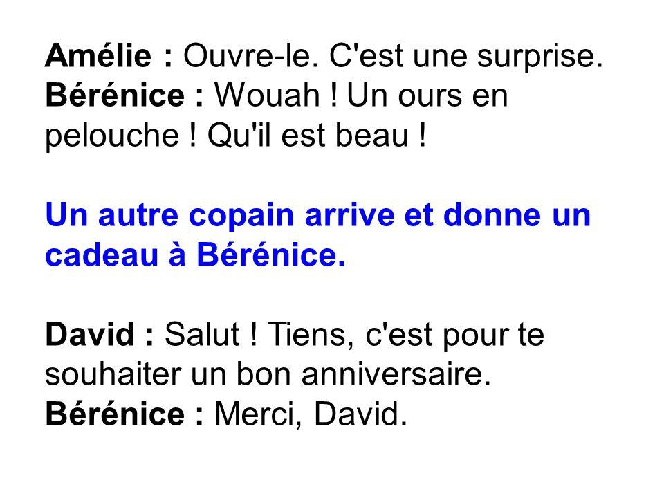 Amélie : Ouvre-le. C'est une surprise. Bérénice : Wouah ! Un ours en pelouche ! Qu'il est beau ! Un autre copain arrive et donne un cadeau à Bérénice.
