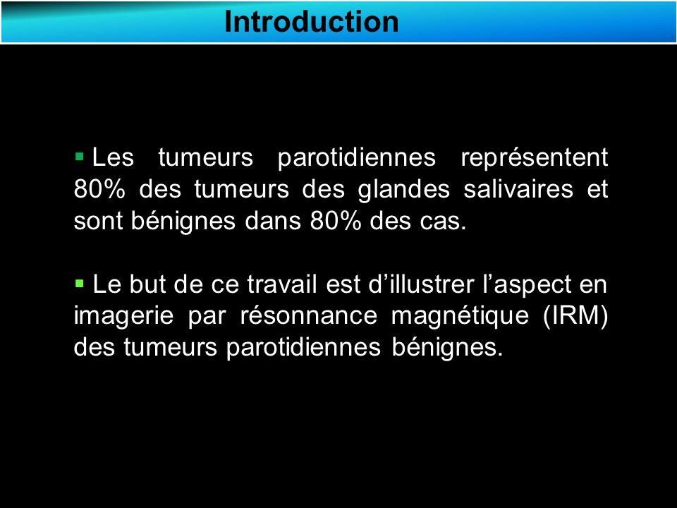 Résultats Cystadénolymphome Lésion polaire inférieure de la parotide gauche, arrondie, de contours lisses en hyposignal T1 hétérogène avec des zones en hypersignal T1 (flèche verte), en hyposignal T2 hétérogène et prenant le contraste en périphérie (flèche jaune).
