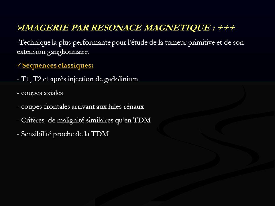 IMAGERIE PAR RESONACE MAGNETIQUE : +++ -Technique la plus performante pour létude de la tumeur primitive et de son extension ganglionnaire. Séquences