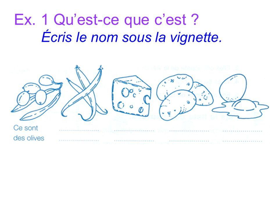 Ex. 1 Quest-ce que cest Écris le nom sous la vignette.
