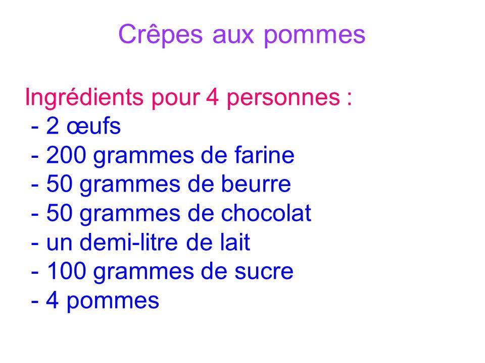 Crêpes aux pommes Ingrédients pour 4 personnes : - 2 œufs - 200 grammes de farine - 50 grammes de beurre - 50 grammes de chocolat - un demi-litre de lait - 100 grammes de sucre - 4 pommes