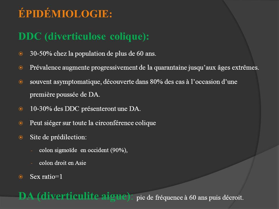 ÉPIDÉMIOLOGIE: DDC (diverticulose colique): 30-50% chez la population de plus de 60 ans. Prévalence augmente progressivement de la quarantaine jusquau