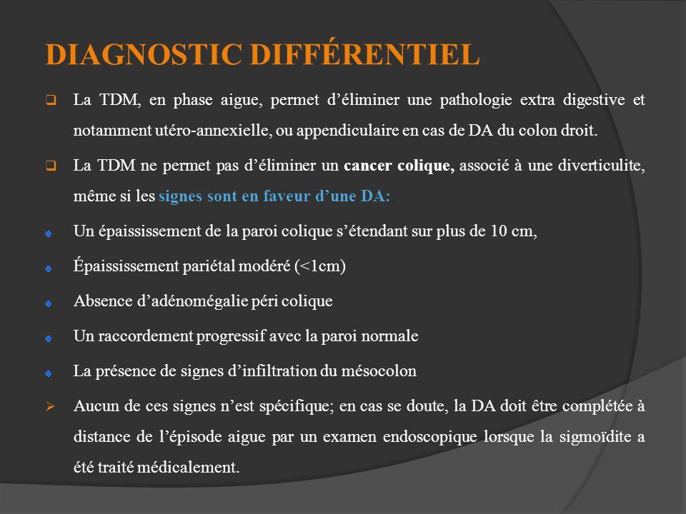 DIAGNOSTIC DIFFÉRENTIEL La TDM, en phase aigue, permet déliminer une pathologie extra digestive et notamment utéro-annexielle, ou appendiculaire en ca