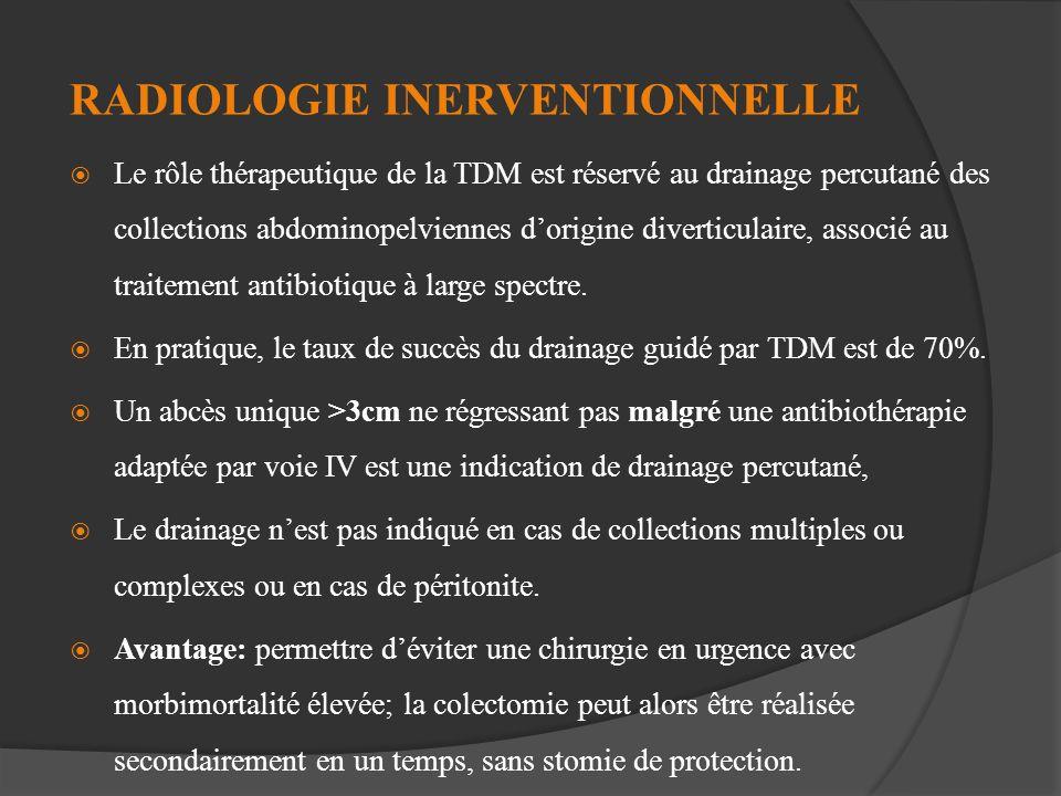 RADIOLOGIE INERVENTIONNELLE Le rôle thérapeutique de la TDM est réservé au drainage percutané des collections abdominopelviennes dorigine diverticulai