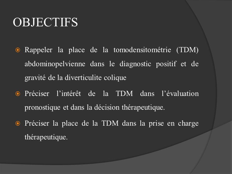 OBJECTIFS Rappeler la place de la tomodensitométrie (TDM) abdominopelvienne dans le diagnostic positif et de gravité de la diverticulite colique Préci