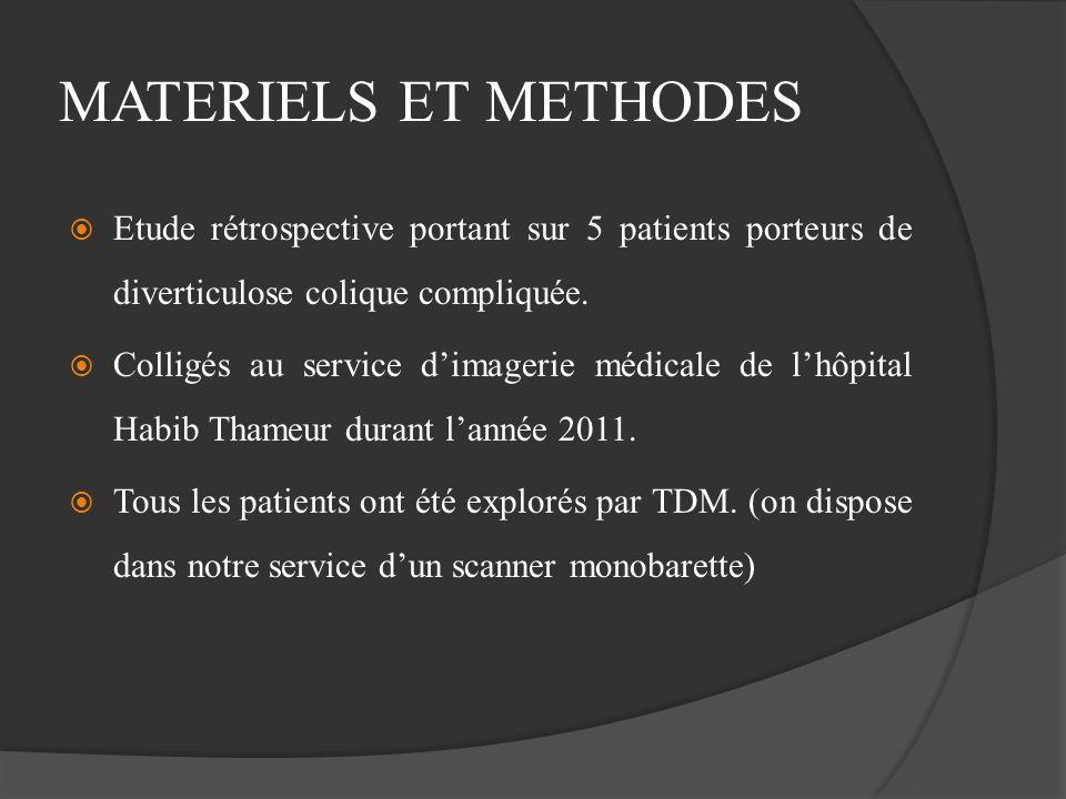MATERIELS ET METHODES Etude rétrospective portant sur 5 patients porteurs de diverticulose colique compliquée. Colligés au service dimagerie médicale