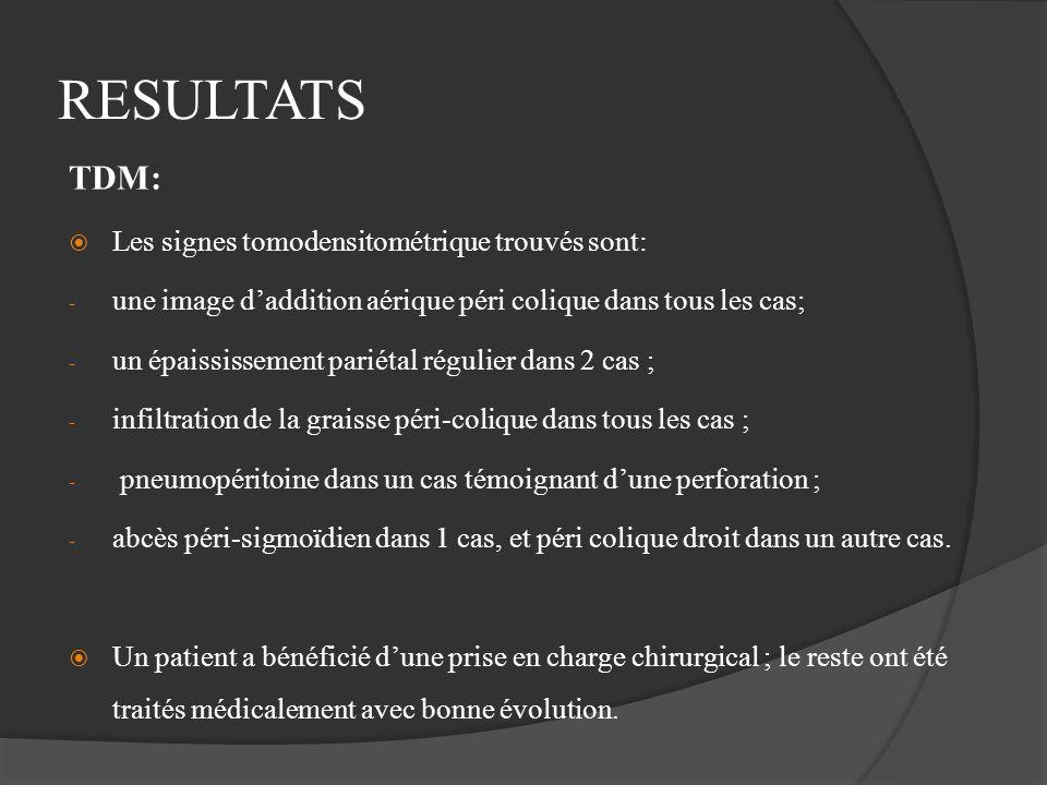 RESULTATS TDM: Les signes tomodensitométrique trouvés sont: - une image daddition aérique péri colique dans tous les cas; - un épaississement pariétal